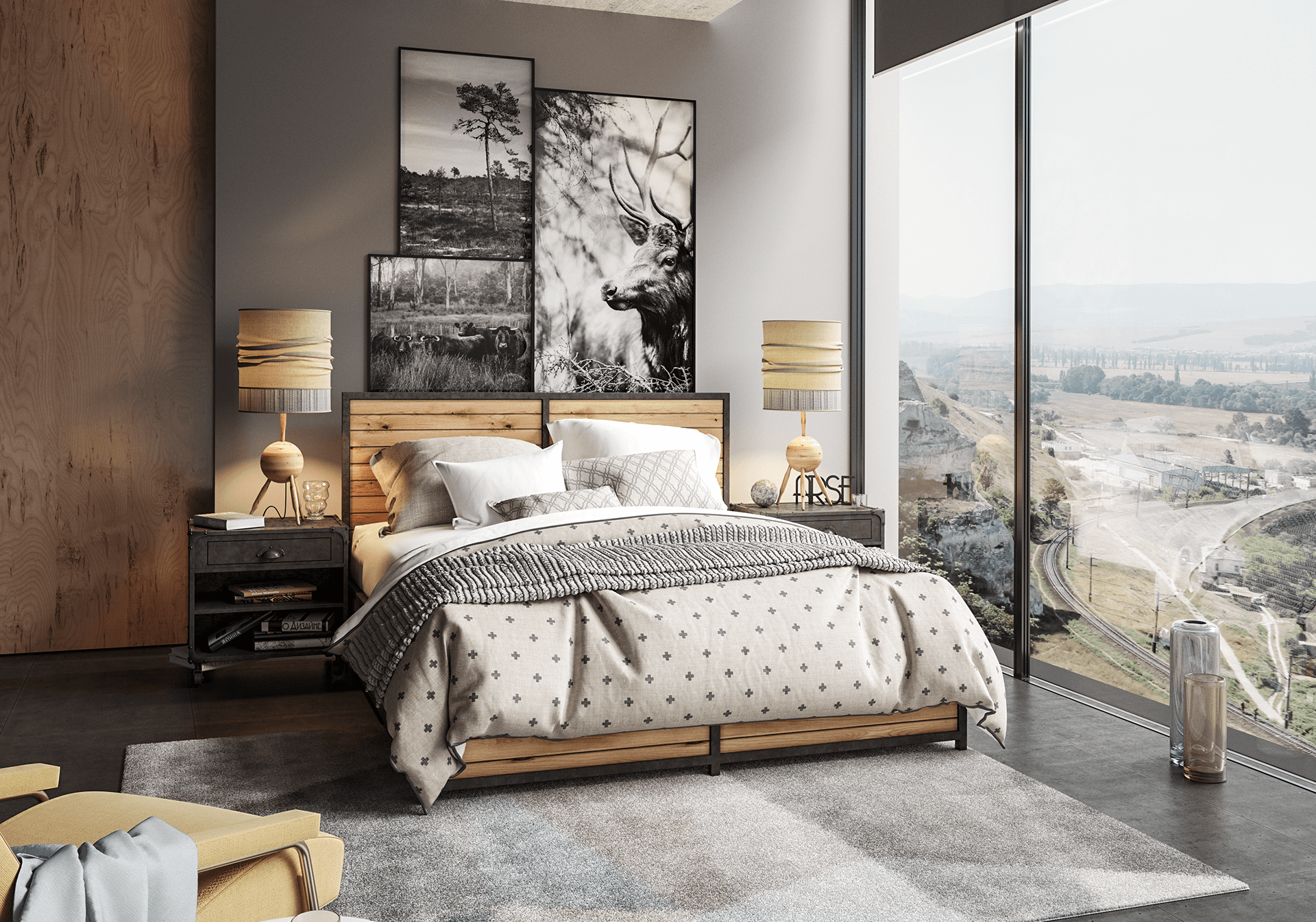 bedroom bed lamps valley carpet bedding cgi