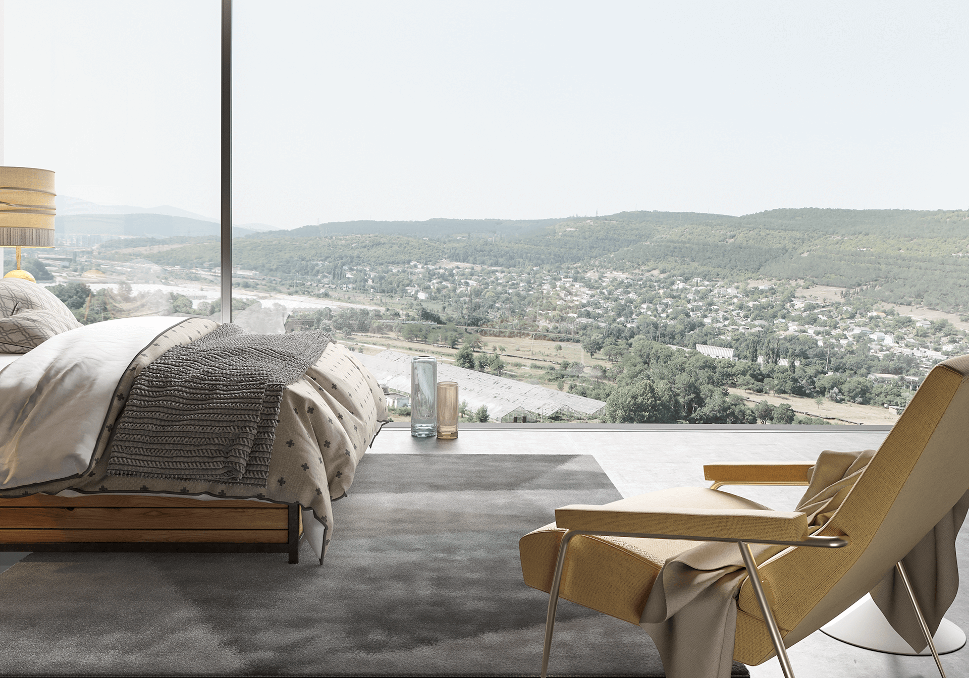 bedroom bed chair valley carpet bedding cgi