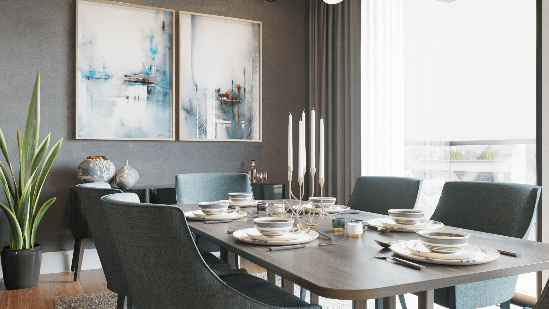 dining table blue and grey candles plates plant and two paintings on the dark wall cgi corona renderer